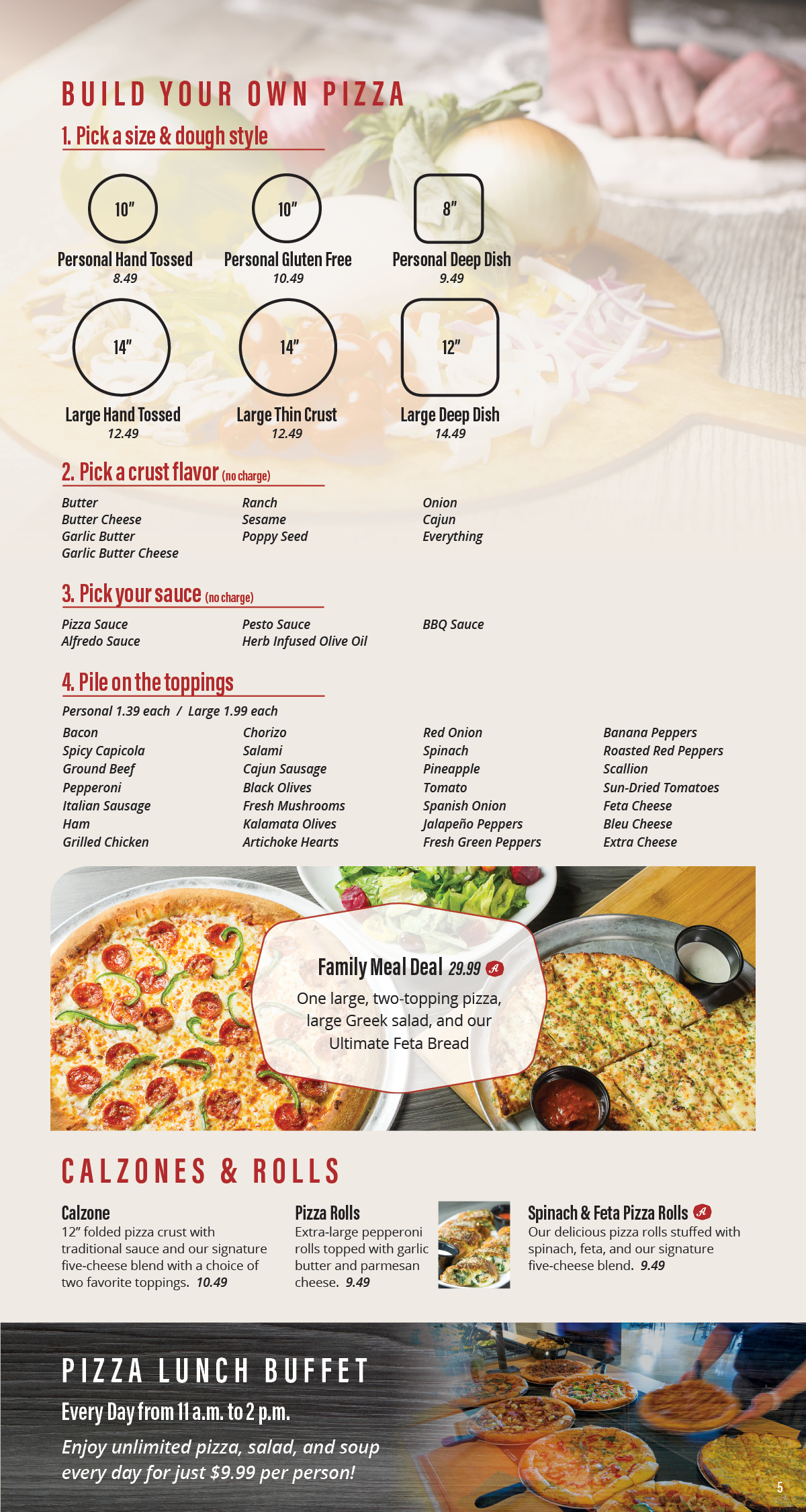Build Your Own Pizza, Calzones & Rolls
